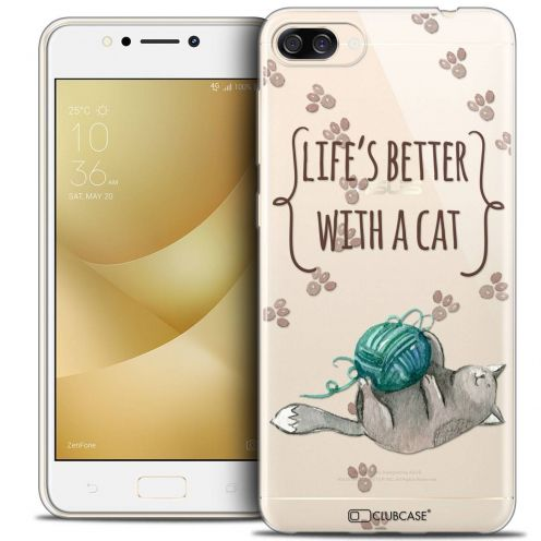 "Coque Crystal Gel Asus Zenfone 4 MAX ZC520KL (5.2"") Extra Fine Quote - Life's Better With a Cat"