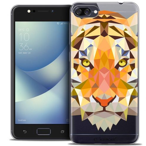"Coque Crystal Gel Asus Zenfone 4 MAX ZC520KL (5.2"") Extra Fine Polygon Animals - Tigre"
