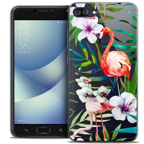 "Coque Crystal Gel Asus Zenfone 4 MAX PLUS / Pro ZC554KL (5.5"") Extra Fine Watercolor - Tropical Flamingo"