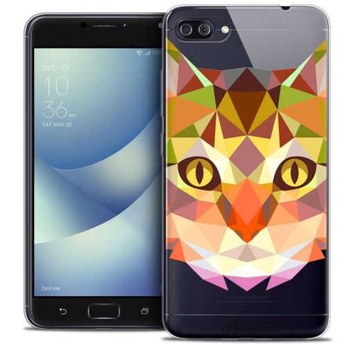 "Coque Crystal Gel Asus Zenfone 4 MAX PLUS / Pro ZC554KL (5.5"") Extra Fine Polygon Animals - Chat"
