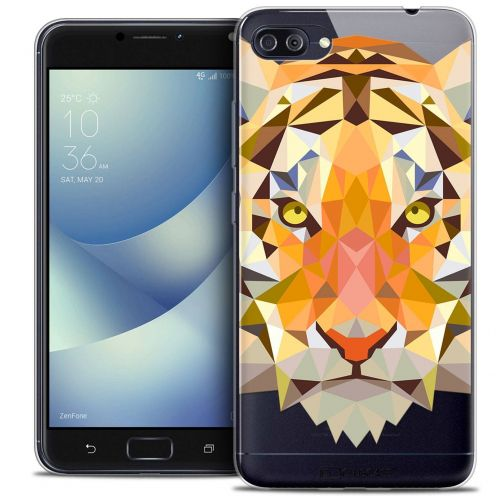 "Coque Crystal Gel Asus Zenfone 4 MAX PLUS / Pro ZC554KL (5.5"") Extra Fine Polygon Animals - Tigre"