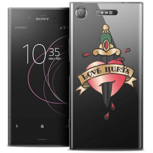"Coque Crystal Gel Sony Xperia XZ1 (5.2"") Extra Fine Tatoo Lover - Love Hurts"