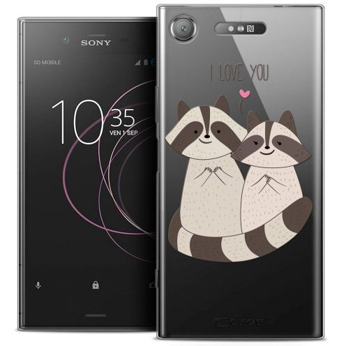 "Coque Crystal Gel Sony Xperia XZ1 (5.2"") Extra Fine Sweetie - Racoon Love"