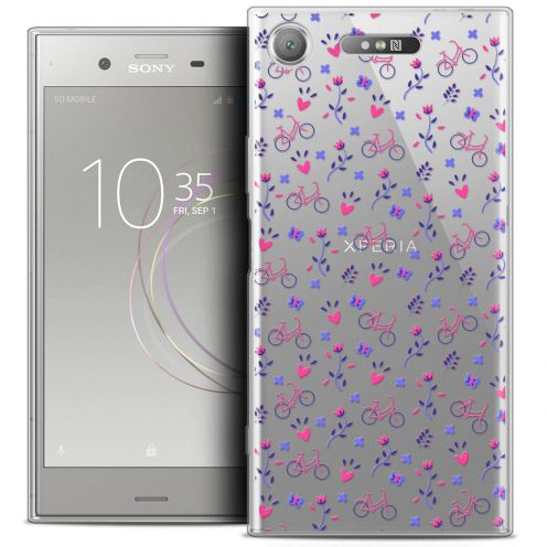 "Extra Slim Crystal Gel Sony Xperia XZ1 (5.2"") Case Love Bicycle"