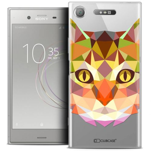 "Extra Slim Crystal Gel Sony Xperia XZ1 (5.2"") Case Polygon Animals Cat"