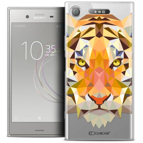 "Extra Slim Crystal Gel Sony Xperia XZ1 (5.2"") Case Polygon Animals Tiger"
