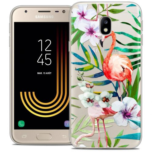 "Coque Crystal Gel Samsung Galaxy J3 2017 J320 (5"") Extra Fine Watercolor - Tropical Flamingo"