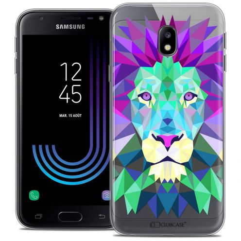 "Coque Crystal Gel Samsung Galaxy J3 2017 J320 (5"") Extra Fine Polygon Animals - Lion"