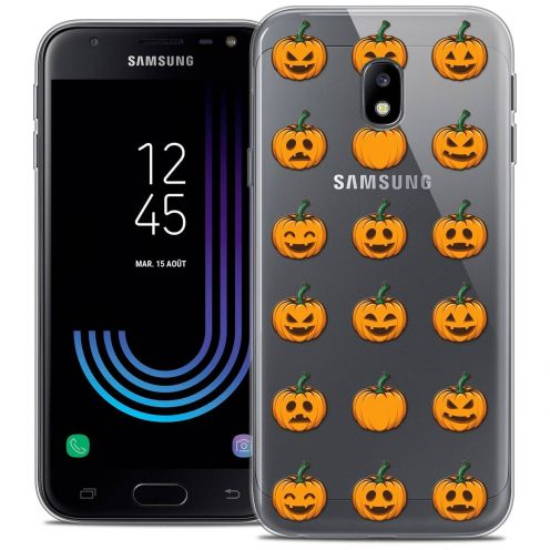 "Coque Crystal Gel Samsung Galaxy J3 2017 J320 (5"") Extra Fine Halloween - Smiley Citrouille"