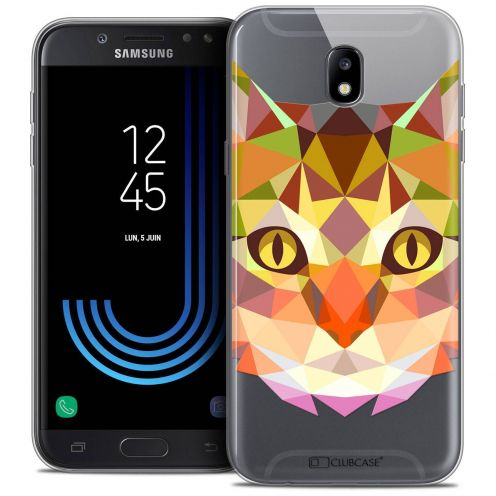 "Coque Crystal Gel Samsung Galaxy J7 2017 J730 (5.5"") Extra Fine Polygon Animals - Chat"