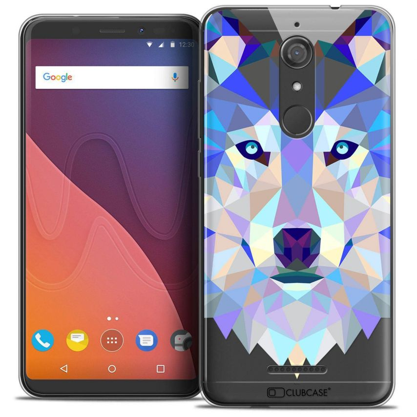 """Coque Crystal Gel Wiko View (5.7"""") Extra Fine Polygon Animals - Loup"""