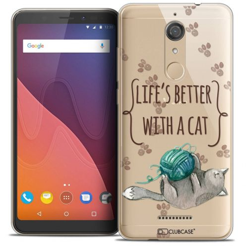 """Coque Crystal Gel Wiko View (5.7"""") Extra Fine Quote - Life's Better With a Cat"""