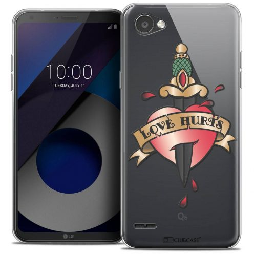 "Coque Crystal Gel LG Q6 (5.5"") Extra Fine Tatoo Lover - Love Hurts"