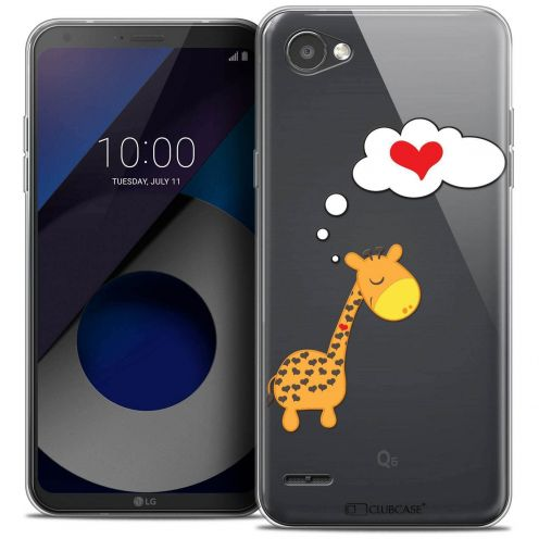 "Coque Crystal Gel LG Q6 (5.5"") Extra Fine Love - Girafe Amoureuse"