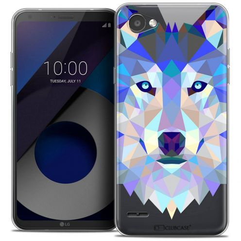 "Coque Crystal Gel LG Q6 (5.5"") Extra Fine Polygon Animals - Loup"