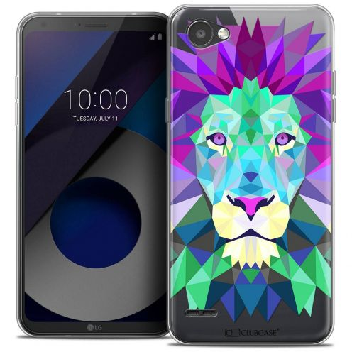 "Coque Crystal Gel LG Q6 (5.5"") Extra Fine Polygon Animals - Lion"