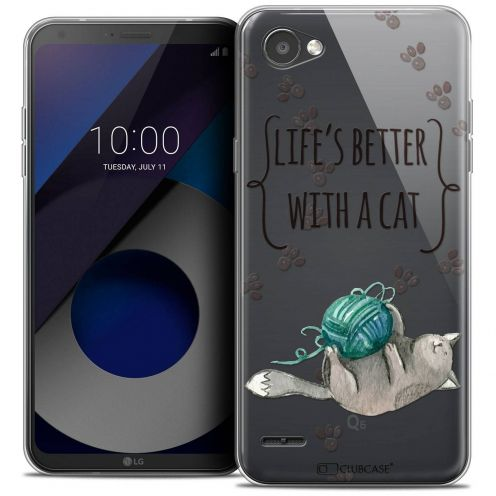 "Coque Crystal Gel LG Q6 (5.5"") Extra Fine Quote - Life's Better With a Cat"