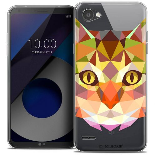 "Coque Crystal Gel LG Q6 (5.5"") Extra Fine Polygon Animals - Chat"