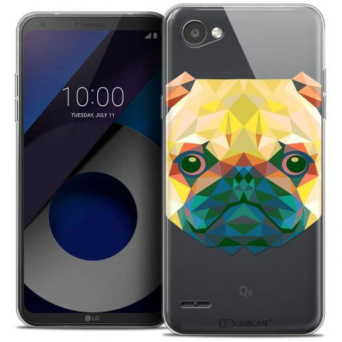 "Coque Crystal Gel LG Q6 (5.5"") Extra Fine Polygon Animals - Chien"