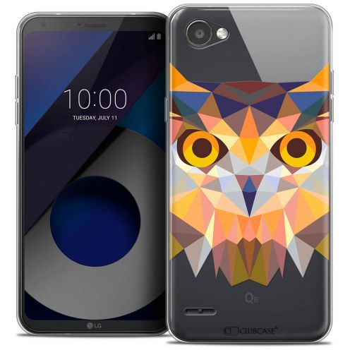 "Coque Crystal Gel LG Q6 (5.5"") Extra Fine Polygon Animals - Hibou"