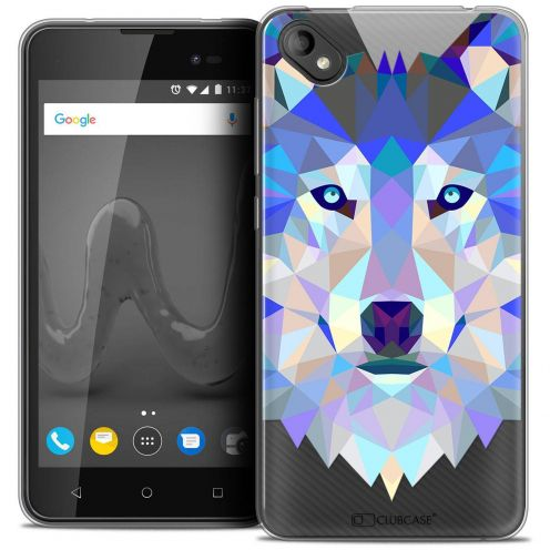 """Coque Crystal Gel Wiko Sunny 2 PLUS (5"""") Extra Fine Polygon Animals - Loup"""