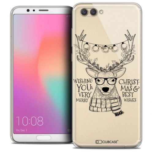 "Coque Crystal Gel Honor View 10 / V10 (6"") Extra Fine Noël 2017 - Cerf Hipster"