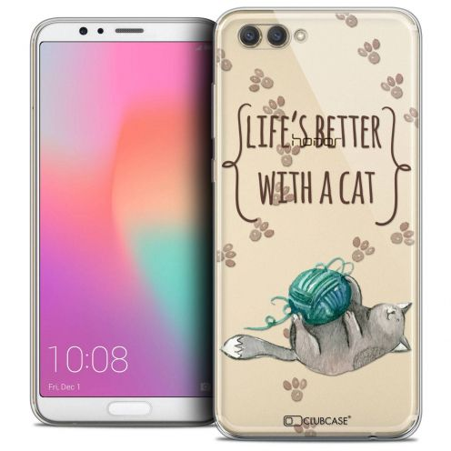 "Coque Crystal Gel Honor View 10 / V10 (6"") Extra Fine Quote - Life's Better With a Cat"