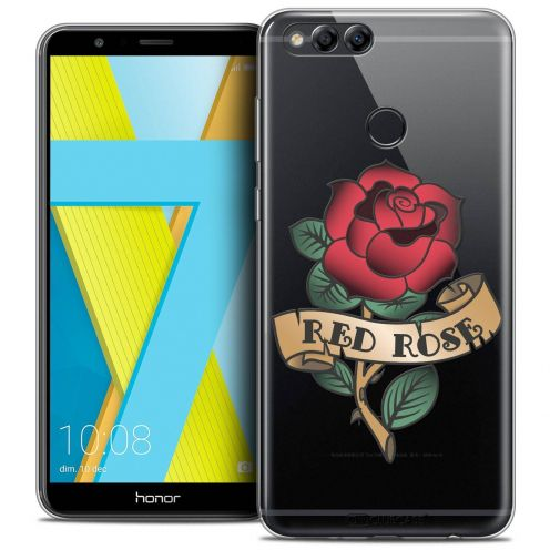 """Coque Crystal Gel Honor 7X (5.9"""") Extra Fine Tatoo Lover - Red Rose"""