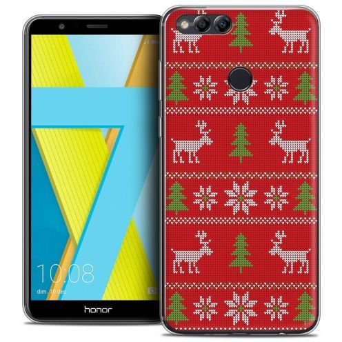 "Coque Crystal Gel Honor 7X (5.9"") Extra Fine Noël 2017 - Couture Rouge"