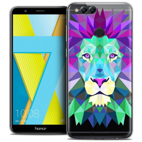 "Coque Crystal Gel Honor 7X (5.9"") Extra Fine Polygon Animals - Lion"