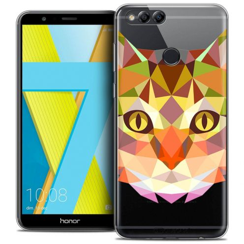 "Coque Crystal Gel Honor 7X (5.9"") Extra Fine Polygon Animals - Chat"