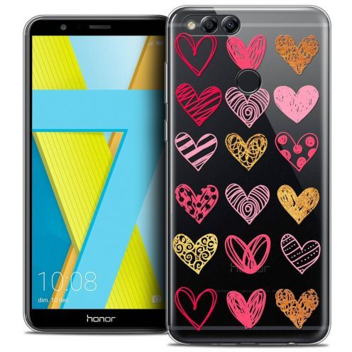 "Coque Crystal Gel Honor 7X (5.9"") Extra Fine Sweetie - Doodling Hearts"