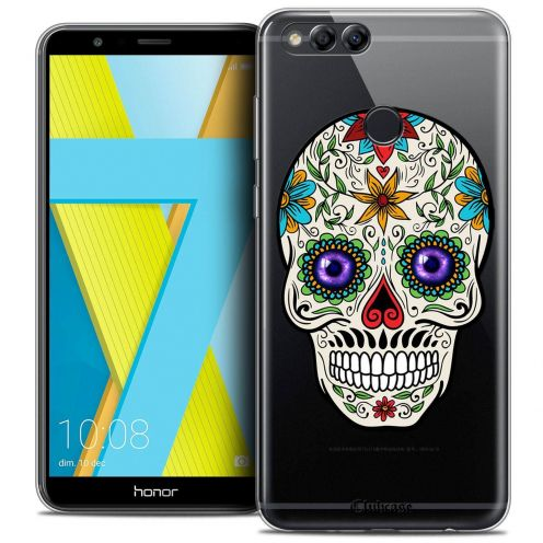 "Coque Crystal Gel Honor 7X (5.9"") Extra Fine Skull - Maria's Flower"