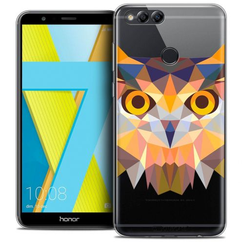 "Coque Crystal Gel Honor 7X (5.9"") Extra Fine Polygon Animals - Hibou"