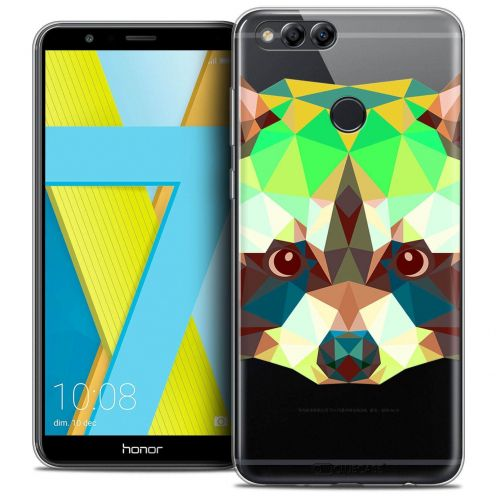 "Coque Crystal Gel Honor 7X (5.9"") Extra Fine Polygon Animals - Raton Laveur"