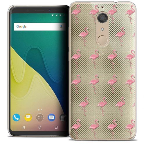 """Coque Crystal Gel Wiko View XL (5.99"""") Extra Fine Pattern - Les flamants Roses Dots"""