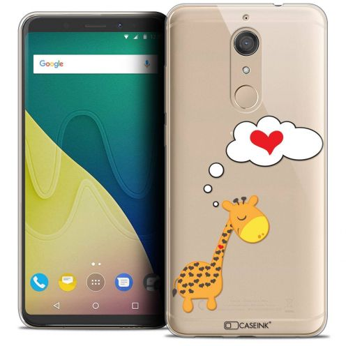 """Coque Crystal Gel Wiko View XL (5.99"""") Extra Fine Love - Girafe Amoureuse"""