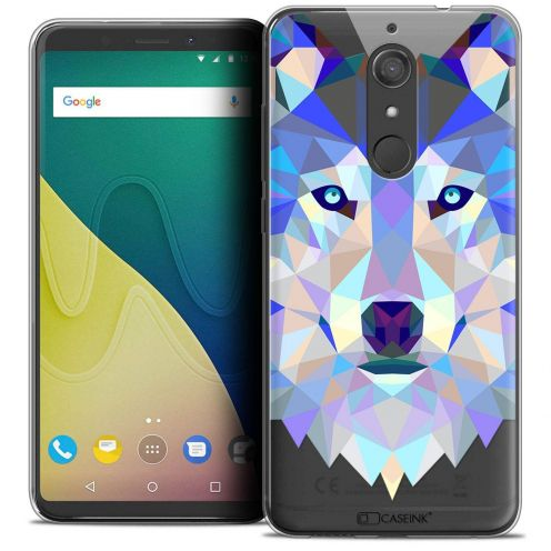 """Coque Crystal Gel Wiko View XL (5.99"""") Extra Fine Polygon Animals - Loup"""