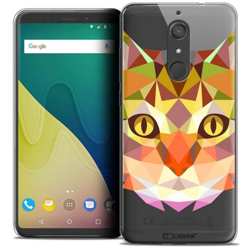 """Coque Crystal Gel Wiko View XL (5.99"""") Extra Fine Polygon Animals - Chat"""