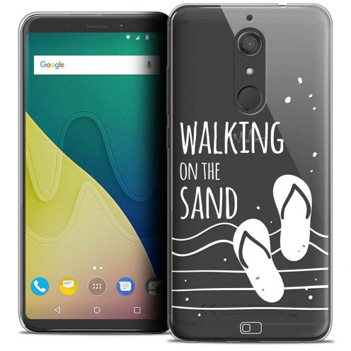 "Extra Slim Crystal Gel Wiko View XL (5.99"") Case Summer Walking on the Sand"