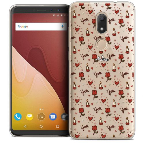 """Coque Crystal Gel Wiko View PRIME (5.7"""") Extra Fine Love - Bougies et Roses"""