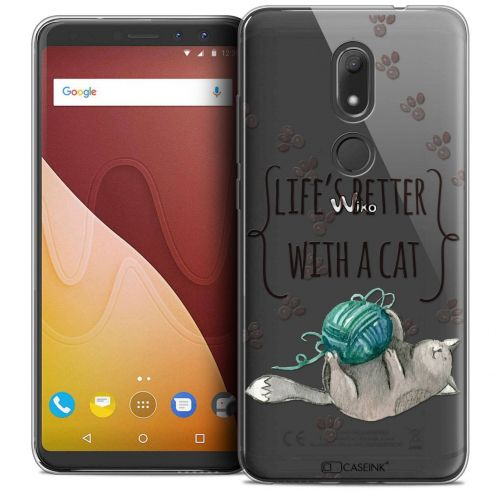 """Coque Crystal Gel Wiko View PRIME (5.7"""") Extra Fine Quote - Life's Better With a Cat"""
