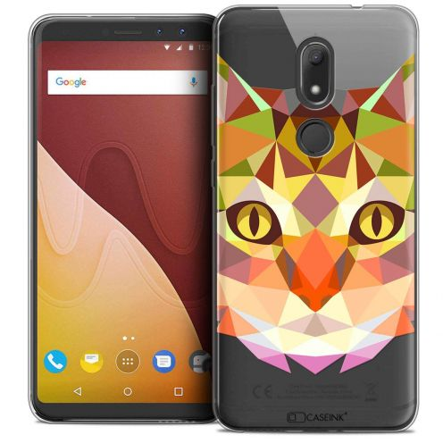 """Coque Crystal Gel Wiko View PRIME (5.7"""") Extra Fine Polygon Animals - Chat"""