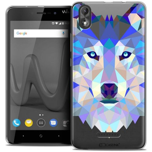 "Coque Crystal Gel Wiko Lenny 4 PLUS (5.5"") Extra Fine Polygon Animals - Loup"