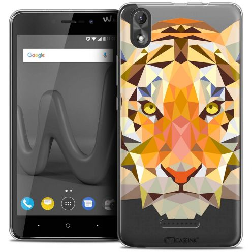 "Coque Crystal Gel Wiko Lenny 4 PLUS (5.5"") Extra Fine Polygon Animals - Tigre"
