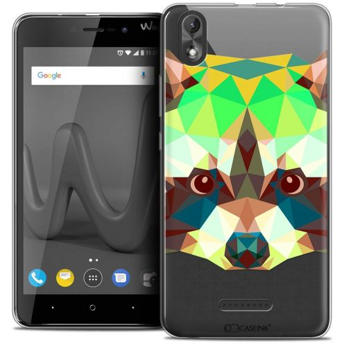 "Coque Crystal Gel Wiko Lenny 4 PLUS (5.5"") Extra Fine Polygon Animals - Raton Laveur"