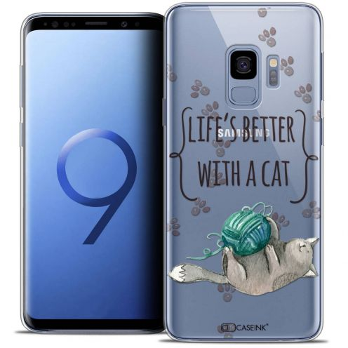 """Coque Crystal Gel Samsung Galaxy S9 (5.8"""") Extra Fine Quote - Life's Better With a Cat"""