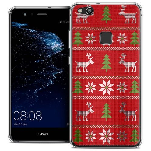 """Coque Crystal Gel Huawei P10 LITE (5.2"""") Extra Fine Noël 2017 - Couture Rouge"""