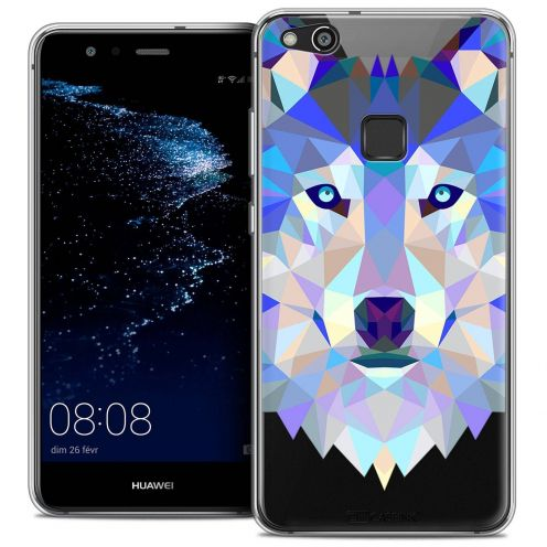 "Coque Crystal Gel Huawei P10 LITE (5.2"") Extra Fine Polygon Animals - Loup"