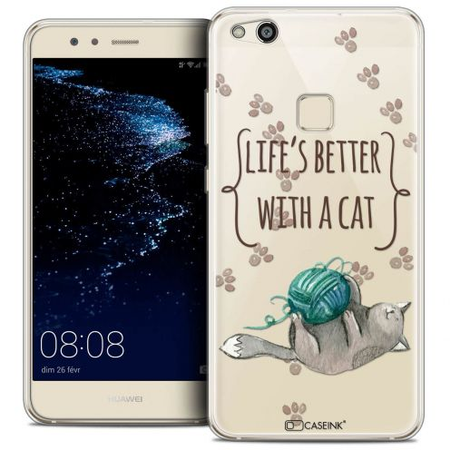 """Coque Crystal Gel Huawei P10 LITE (5.2"""") Extra Fine Quote - Life's Better With a Cat"""